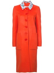 Carolina Herrera Embellished Collar Coat Yellow And Orange