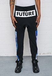 Forever 21 L.A.T.H.C. Abstract Print Paneled Sweatpants Black Blue