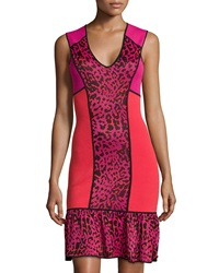 Marchesa Voyage Leopard Print Colorblock Dress Vermillion Indian Pink