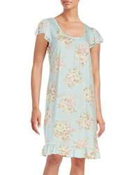 Miss Elaine Lace Accented Nightgown Blue Multi