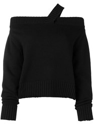 Rta Off Shoulder Knitted Jumper Black