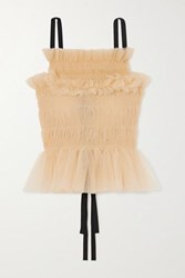 Molly Goddard Betsey Shirred Tulle Top Cream