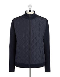 7 Diamonds Quilted Knit Zip Up Blue