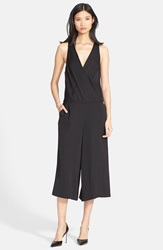 Tracy Reese Crop Wide Leg Satin Jumpsuit Black