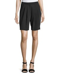 Dex Pleated Relaxed Fit Bermuda Shorts Black