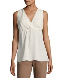Brunello Cucinelli Monili Trim Sleeveless Silk Top Cream