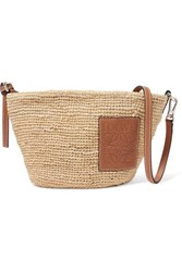 Loewe Paula Leather Trimmed Woven Raffia Shoulder Bag Tan