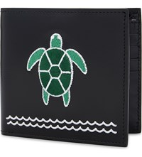 Thom Browne Embroidered Turtle Patent Leather Billfold Black