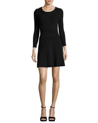 Ba And Sh Kilim Round Neck Long Sleeve Rib Knit Mini Dress Black