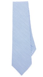 Thomas Mason Seersucker Stripe Tie White Blue