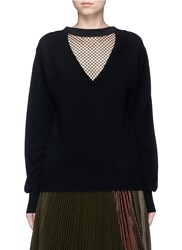 Toga Archives Fishnet Mesh V Neck Wool Sweater Black