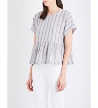 Masscob Striped Cotton Blend Top Blue