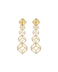 18K 3D Cube Dangle Earrings Yellow Lenox