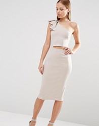Oh My Love Frill Shoulder Bodycon Midi Dress With Side Cut Out Light Grey