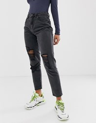 Noisy May Distressed Mom Jean In Black Blue