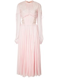 J. Mendel Chiffon Pleated Dress Women Silk 6 Pink Purple