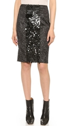 Vera Wang Pencil Skirt With Sequin Front Panel Black
