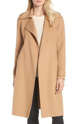 Badgley Mischka Double Face Wool Blend Wrap Front Coat Camel