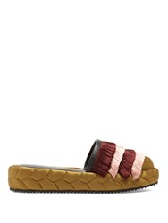 Marco De Vincenzo Fringed Quilted Satin Platform Wedge Slides Green Multi