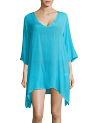 J Valdi Textured Asymmetrical Cover Up Tunic Turquoise