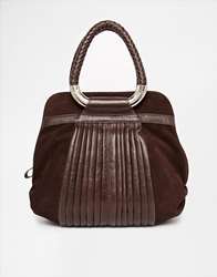 Ri2k Leather Suade Mix Bag With Woven Handle Detail Browncocoa