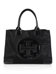 Tory Burch Ella Nylon And Faux Leather Tote Black French Navy