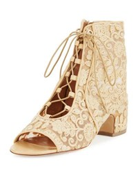Laurence Dacade Naiade Crocheted Lace Up Bootie Natural