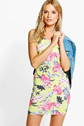 Boohoo Printed Strappy Bodycon Dress Lime