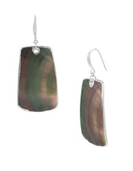 Robert Lee Morris Bold Moves Large Mother Of Pearl Drop Earrings Black