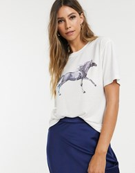 Neon Rose Relaxed T Shirt With Painted Horse Graphic Cream