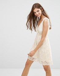 Lavand Lace Skater Dress In White Beige