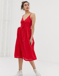 Superdry Tie Front Dress Red