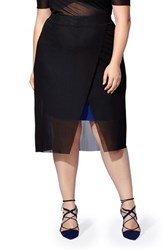 Mblm By Tess Holliday Plus Size Women's Stretch Knit Skirt With Mesh Overlay