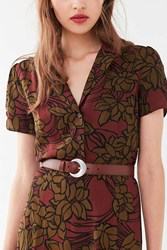 Urban Outfitters Crescent Buckle Leather Belt Brown