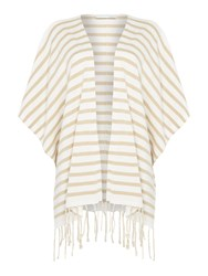 Oui Stripe Fringed Poncho Cardigan Off White