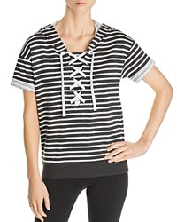 Marc New York Performance Short Sleeve Striped Cotton Hoodie Charcoal Heather White