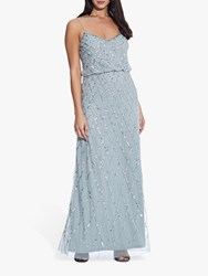 Adrianna Papell Blouson Beaded Maxi Dress Azure Mist