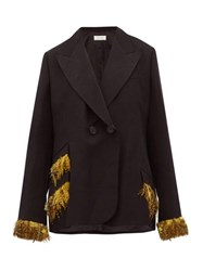 Wales Bonner Double Breasted Feather Trimmed Jacket Black