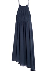 Tibi Smocked Cotton And Silk Blend Crepon Maxi Dress Navy
