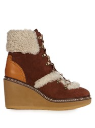 See By Chloe Eileen Suede And Shearling Ankle Boots Brown