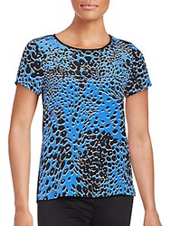 Diane Von Furstenberg Ora Abstract Polka Dotted Silk Blend Top Raining Leopard