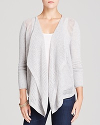 Moon And Meadow Drape Front Cashmere Cardigan Fine Grey Heather