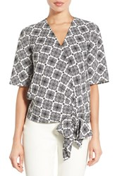Halogenr Petite Women's Halogen Short Sleeve Wrap Front Blouse Ivory Black Print