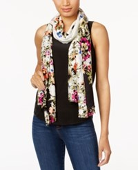 Inc International Concepts Floral Print Soft Wrap And Scarf In One Created For Macy's White Multi