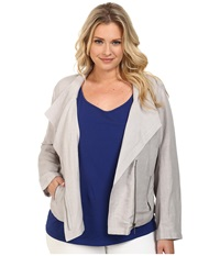 Nic Zoe Plus Size Sundown Moto Jacket Ash Mix Women's Coat Gray