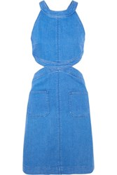 Stella Mccartney Cutout Stretch Denim Dress Mid Denim