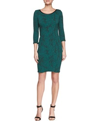 Yoana Baraschi 3 4 Sleeve Reptile Print Sheath Dress Large