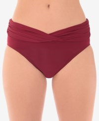 Miraclesuit Solid Shirred Waist Bikini Briefs Women's Swimsuit Pompei Red