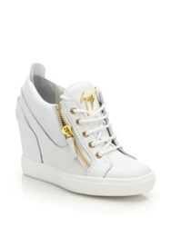 Giuseppe Zanotti Leather High Top Zip Wedge Sneakers
