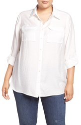 Vince Camuto Plus Size Women's Two By Rumpled Utility Shirt New Ivory